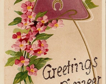 "PIONEER, Washington - Antique ""Greetings From... Glitter Postcard - RIDGEFIELD, La Center, - Pacific Northwest, Good Luck, Horseshoe"