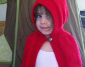 Knit Cape, Christmas Cape, Little Red Ridding Hood, Hand knit, Cape Hooded Sweater, Red, Fall Festival Dress Up Photo Prop, Size 12-18 m
