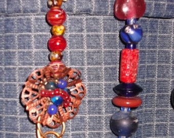 Cobalt & Red Ceiling Fan Pull Set