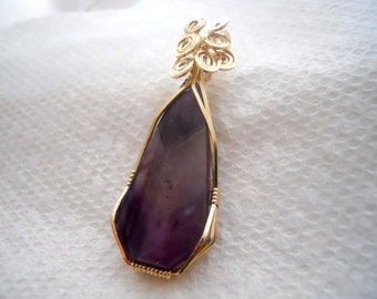 Chevron Amethyst Pendant in 14kt Gold Filled