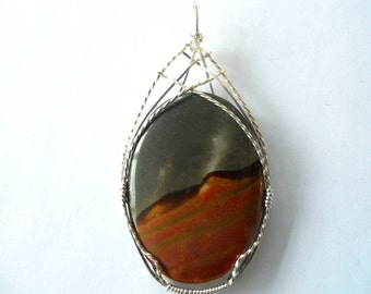 Madagasger Jasper Topped with Woven Sterling Silver Wire