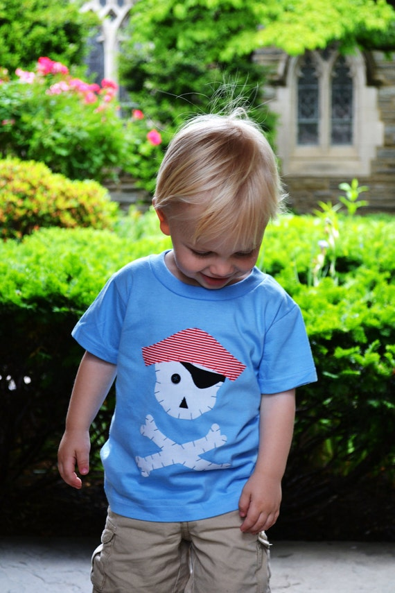 Boys Pirate Shirt in Light Blue with Skull and Crossbones