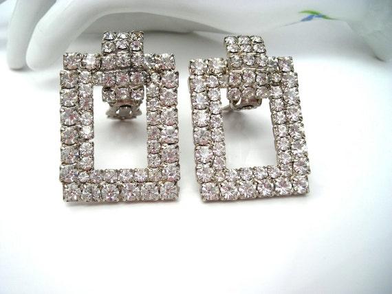 Vintage Rhinestone Doorknocker Earrings