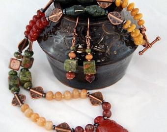 Terra- Earthtone necklace - Arangetram SALE-  Red Jasper Turtle pendant necklace. Earrings. Nature collection.