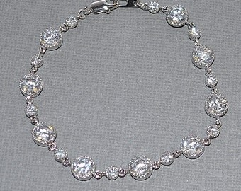 Wedding Bride Bridal Sparkling Cubic Zirconia Smaller Alternating Round Link Bracelet - Custom Requests Welcome
