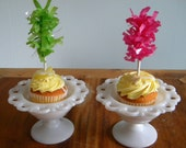 Cupcake Toppers -  Pink and Green Birthday - Cupcake Supplies - Tissue cupcake toppers