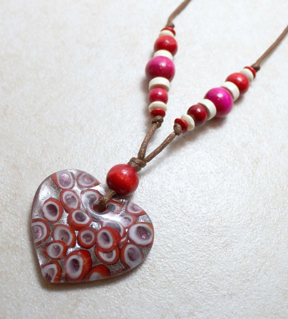 Nursing Necklace with Heart in Red and White Breastfeeding Nursing