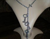 STEAMPUNK/gothic/dark noir asylum keys lariat necklace