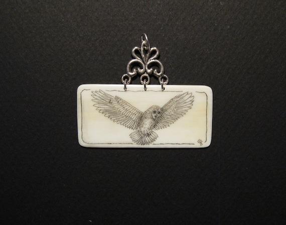 Flying OWL Pendant for necklace Scrimshaw on Ivory
