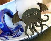 Cthulhu Necklace - Weeble Cthulhu in Laser-Cut Leather