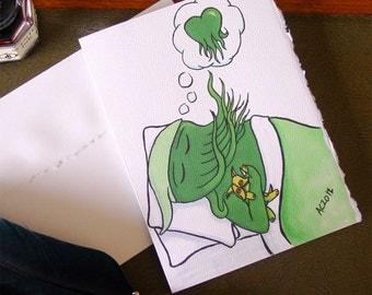Cthulhu Dreams of Love Handmade Card - with Plush Hound of Tindalos