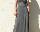 Lower Back Sleeveless Flare Maxi Dress- Charcoal Gray