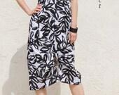 Origami Pleats Linen Sleeveless Dress- Black and White brush stroke