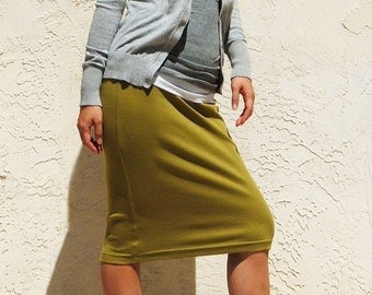Everyday Pencil Skirt, Jersey Skirt, Pull On Skirt, Moss Green Skirt, Straight Skirt, Spring Skirt, Knee Length Skirt / Best Seller