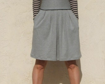Gray High waist Flare Skirt with Pocket, Jersey Full Skirt, Pleated Skirt, Jersey Skirt, Aline Skirt / Handmade Skirt - Heather Gray