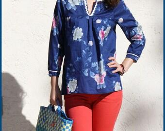 Flower Print Peasant Blouse with three quarter sleeve, Floral Shirt / Handmade Shirt - Blue