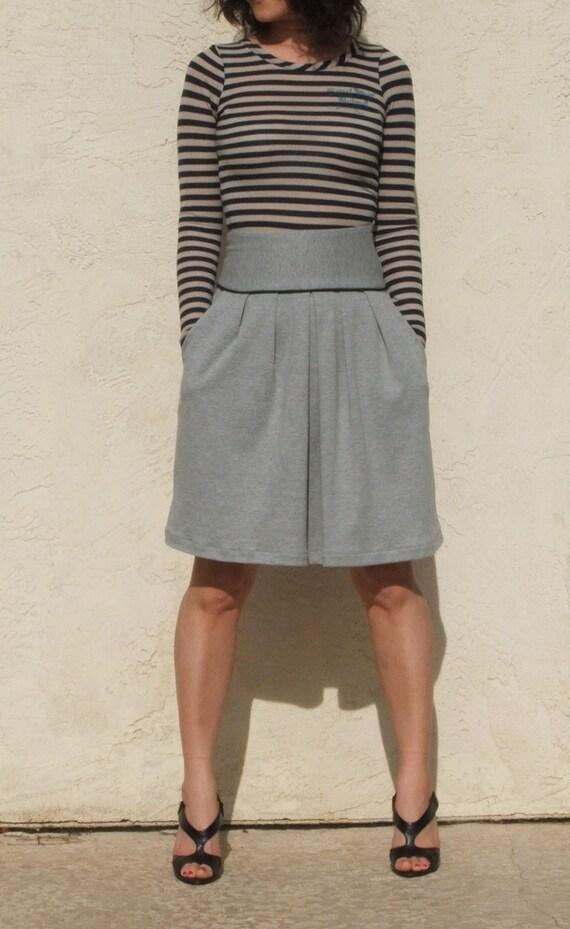 Gray High waist Flare Skirt with Pocket Jersey Full Skirt