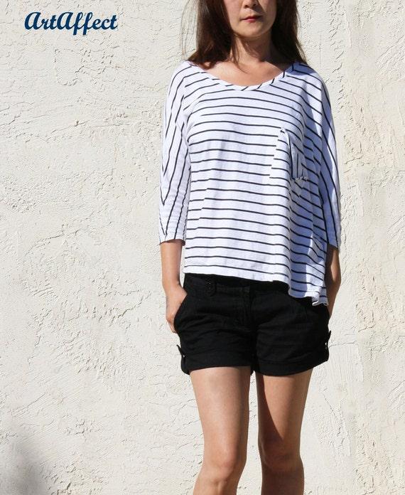 Asymmetric Black and White Stripe T-Shirt - Tomato Red