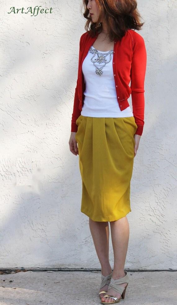 Silky Tulip Skirt-Mustard