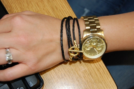 Black Leather Braided Wrap Cord Bracelet with Gold Clasp