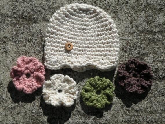 Cream Organic Crochet Baby Hat with Interchangeable Flowers
