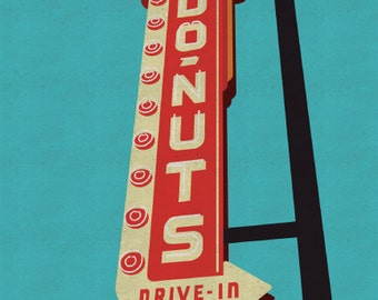 Donuts Drive-In (8 x 10 Retro Donut Sign Print)