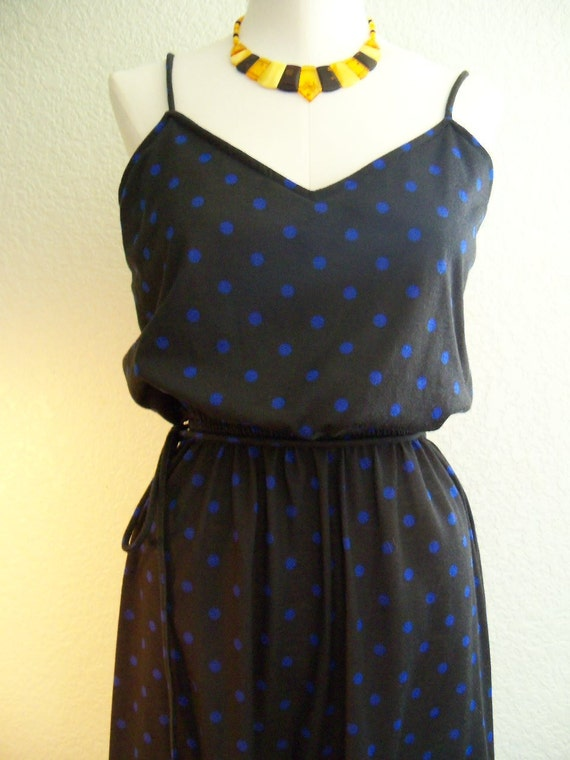 vintage 70s spaghetti string blue on navy blue polka dot summer dress