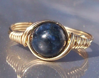 Dumortierite 14k Gold Filled Wire Wrapped Ring