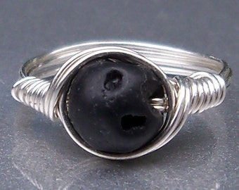 Basalt Ring Black Lava Rock Argentium Sterling Silver Wire Wrapped Ring