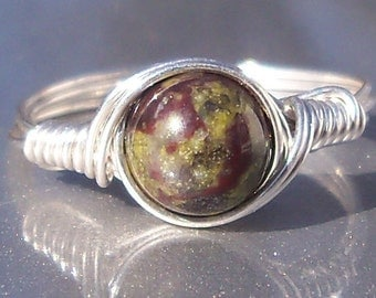 Dragons Blood Jasper Argentium Sterling Silver Wire Wrapped Ring