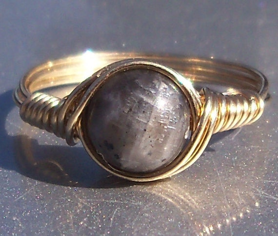 Blue Labradorite Ring- Custom Sized in 14k Gold Filled Wire Wrapped