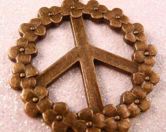 Peace Sign Pendant Brass Flowers Brass Pendant Flower Pendant Peace Sign Bead Brass Bead