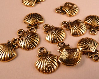 Seashell Charms Gold Charms Gold Findings Ocean Beads Gold Beads Sea Life Metal Beads Metal Findings