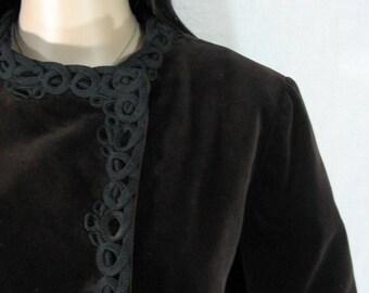 Vintage 60s Matlin BROWN VELVET COAT Jacket S M ethnic hippie boho glam