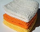 3 Candy Corn Halloween Cotton Dishcloths - Yellow, Orange, White Crochet, Crocheted Cotton Dishcloths - Set of Three Hoooked Dish Cloths