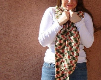 Scarf - Rose Garden Scarf For Women - Multicolor Red, Pale Yellow, Light Sage Green Scarf - Crochet Scarf - Hoooked Scarves