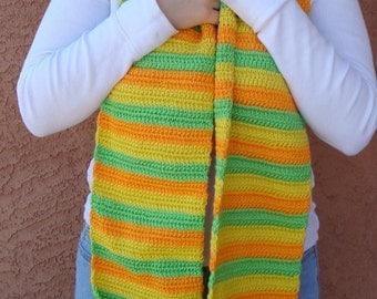 Super Long Scarf in Citrus Stripe - Lime Green, Lemon Yellow, Mango Orange Striped Scarf for Men or Women - Hoooked Super Long Scarves