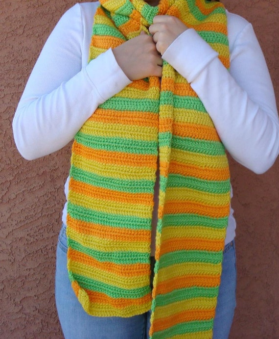 Super Long Scarf in Citrus Stripe - Lime Green, Lemon Yellow, Mango Orange Striped Scarf for Men or Women - Hoooked Super Long Scarves