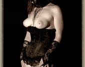 Art of Fetish female lingerie gas mask sepia fine ART photography PRINT - Wanted - 1