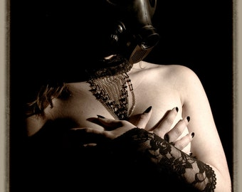 Fetish fine ART photography sepia gasmask corset - Wanted - 2