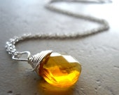 Yellow Wire Wrap Necklace, Sunny Yellow Crystal Necklace, Pretty Necklace, Simple Affordable Jewelry, Fall Fashion jewelry