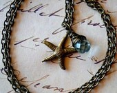 Starfish Necklace with Wire Wrapped Mint Teardrop / Aqua Quartz and Bronze Sea Star Fish Charm / Nautical Beach Necklace Jewelry