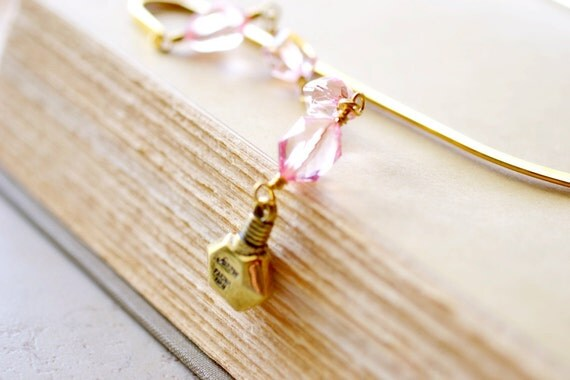 Paris Bookmark, Golden Perfume and Pink Crystals on Gold Metal Bookmark, Gifts for her under 10
