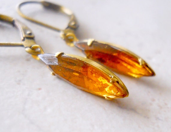 Vintage Topaz Earrings, Light Brown Jewel Drops, Vintage Glass Marquise Dangles, Sepia Light Topaz Estate Style Jewelry