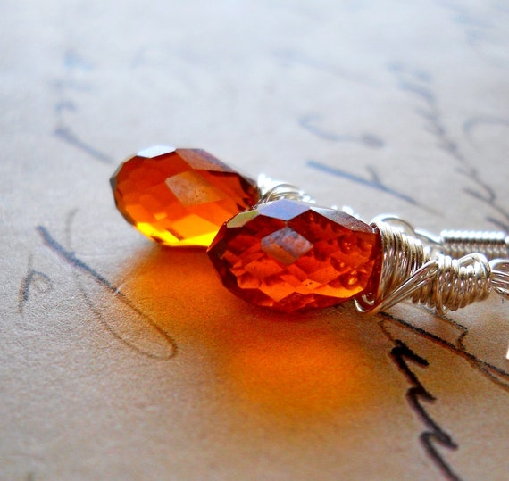 Warm Brown Teardrop Earrings / Wire Wrapped Crystal Earrings / Smoked Topaz Swarovski Crystal Drops / Simple Everyday Jewelry Mocha Cognac