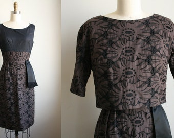 50s Floral Dress - Embroidered Eyelet Floral - Black and Dark Earth