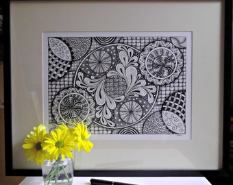 Original Hand-Drawn Art - Visual Mindbender - Zendoodle - Black and White