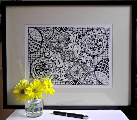 Original Hand-Drawn Art - Visual Mindbender - Zendoodle - Black and White