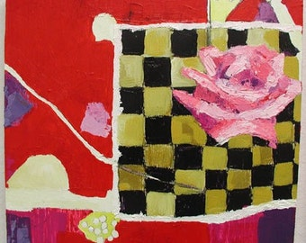 Original Acrylic Painting Of A Rose from the series Dear Gertrude Stein by Rina Miriam Drescher