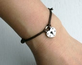 Padlock Heart Bracelet  / Padlock Heart Anklet (4 colors of lock charms and many cord colors to choose)